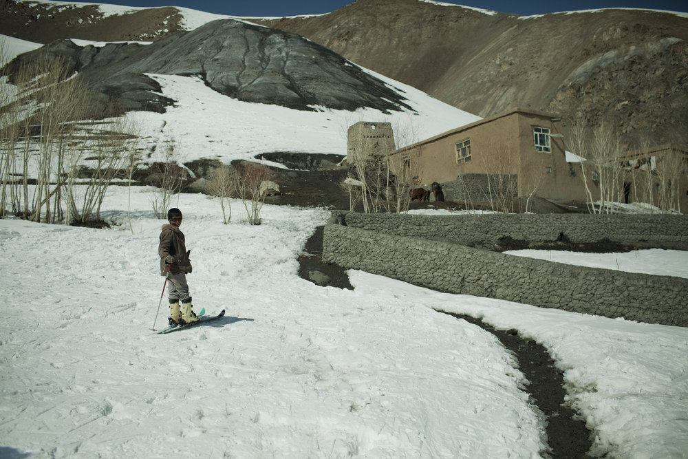 A young skier practices near his home in the Koh-e-Baba Mountains, Afghanistan. March 1, 2012.