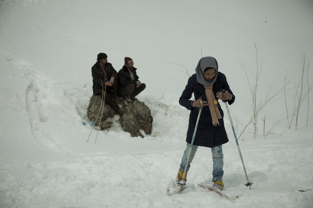 Though Afghanistan has plenty of snow-covered mountains, skiing is an extreme novelty in the country. Organizers of the ski challenge championship brought skis and boots so that spectators could try skiing as well. Koh-e-Baba Mountains, Afghanistan. March 2, 2012.