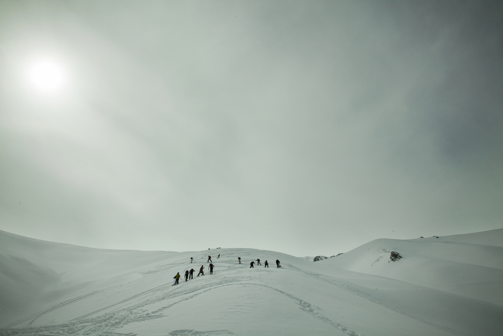 During the race, participants 'skinned' up a 1,500-foot mountain then skied down. Koh-e-Baba Mountains, Afghanistan. March 1, 2012.