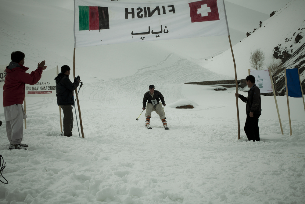 Khalil Reza crosses the finish line first.. Koh-e-Baba Mountains, Afghanistan. March 2, 2012.