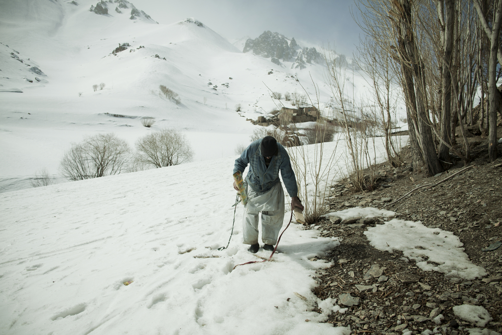 In small villages, local teenagers who had never seen skis before last winter began taking to the hills with homemade skis, made by nailing flattened tin cans to the bottom of wood planks and tying them to their feet with twine. Jawzari, Afghanistan. March 3, 2012.