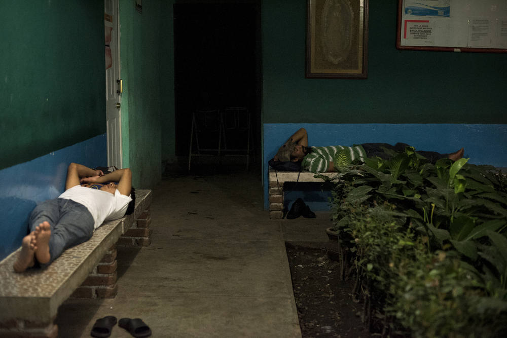 Tapachula is the primary entry point for Central Americans making their way north and shelter space is extremely limited. Here, migrants sleep on benches in the shelter's courtyard.