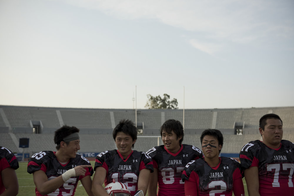 Japanese players line up for the MVP awards after their 72-0 victory over China at the 2016 American Football World University Championship on June 10, 2016 in Monterrey, Mexico. American football has been played in Japan since the 1930s but the sport's popularity tends to ebb and flow with the broader popularity of U.S. culture in Japanese society.