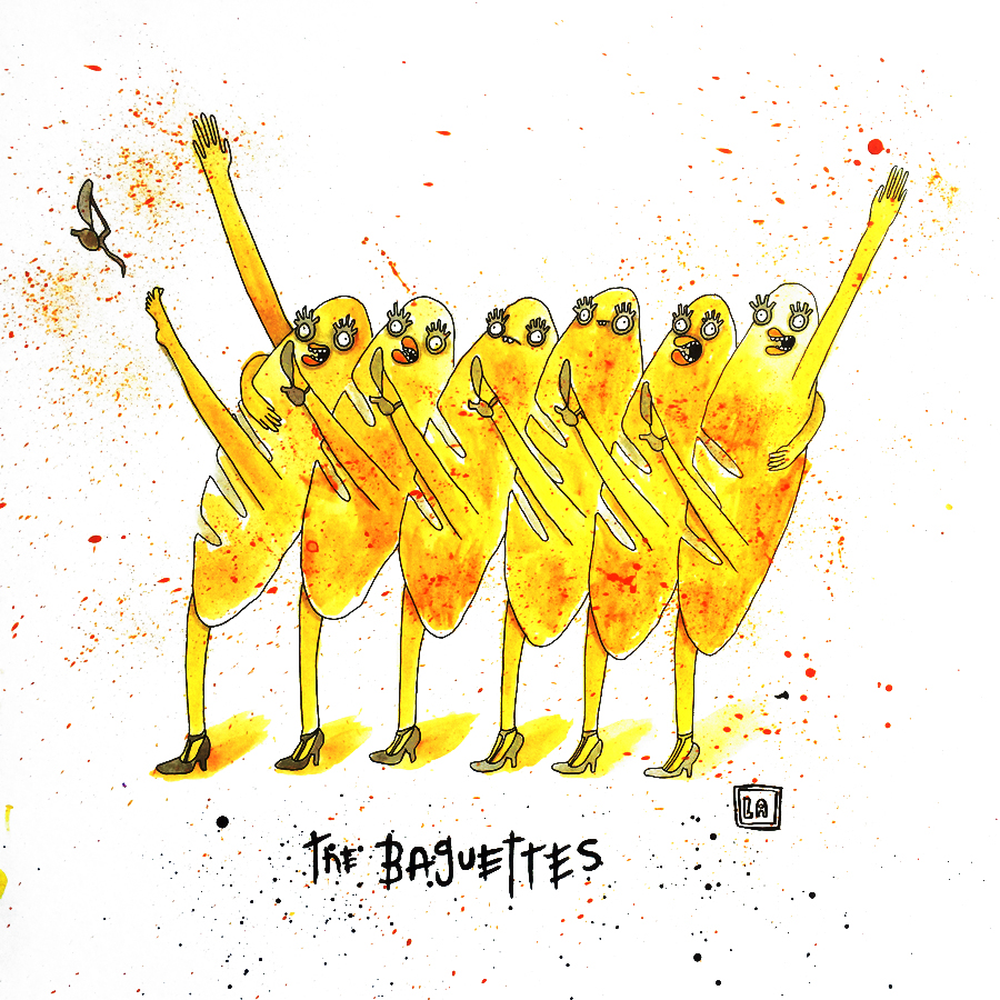 The Baguettes, Watercolor on Paper, 20'' x 20''