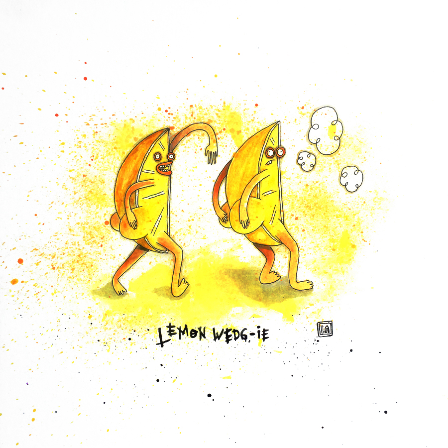 Lemon Wedg-ie, Watercolor on Paper, 20'' x 20''