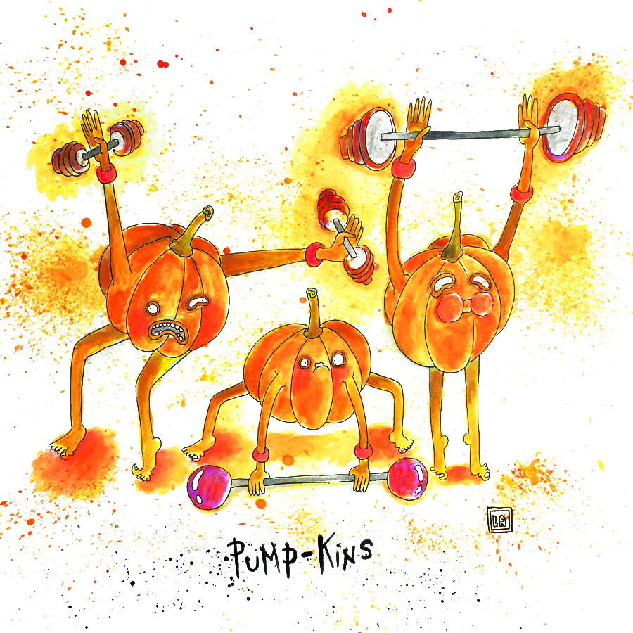 Pump-kins, Watercolor on Paper, 20'' x 20''