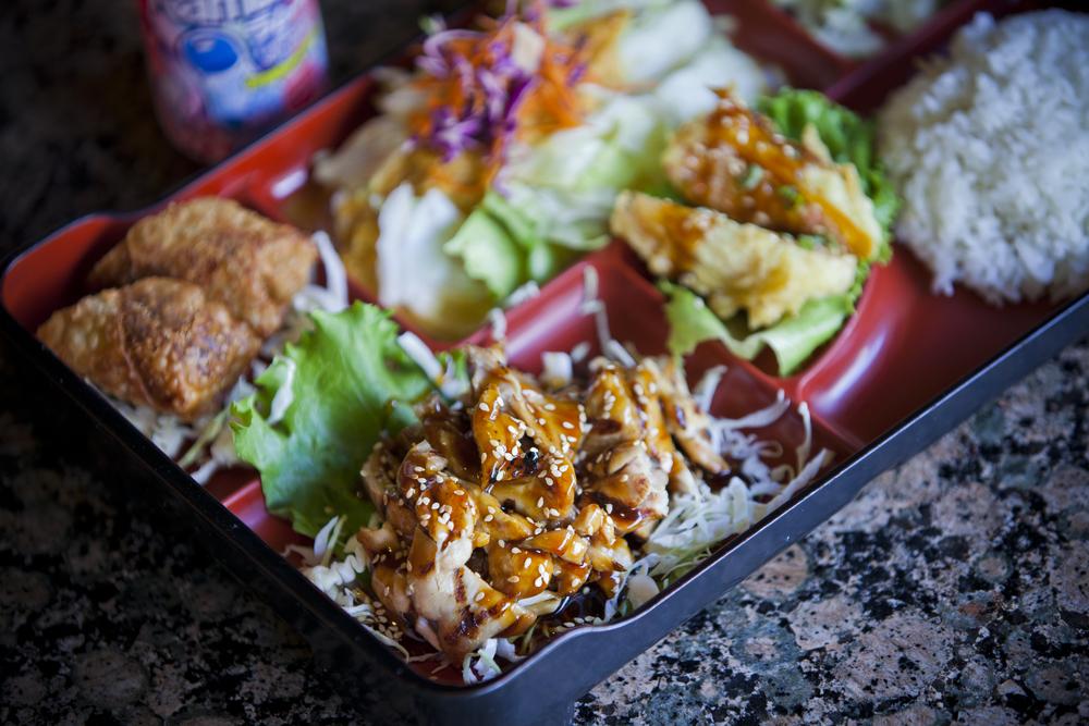 Chicken Teriyaki Special with Spring Roll & Firecracker Roll