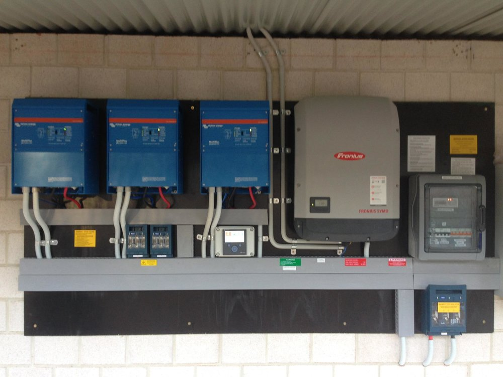 Victron 12.96 kW Solar / 66 kWh Battery Bank, coupled with a Fronius 15kW 3 phase Inverter.