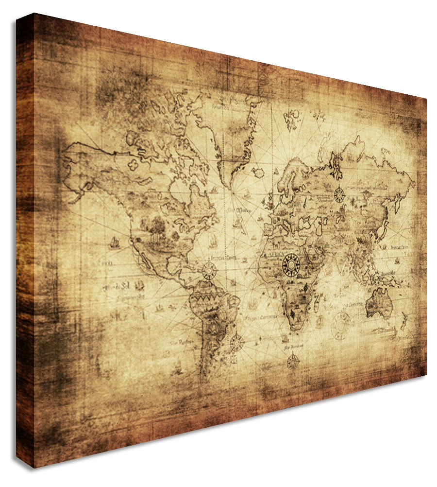 World Map Vintage — Canvas Town