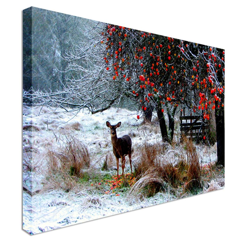 Deer snowy scenery canvas town for Deer scenery