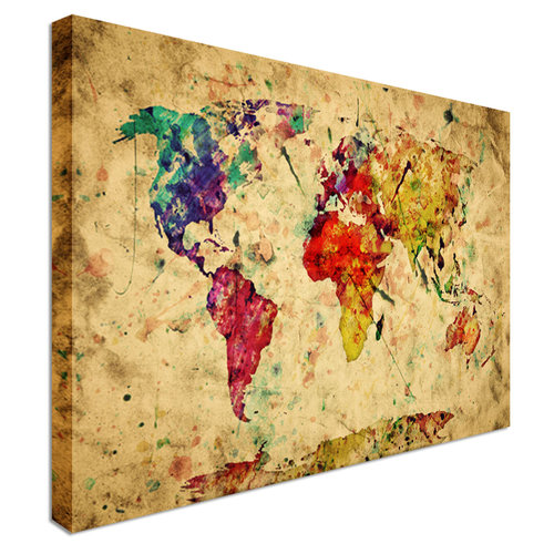 Colourful vintage world map canvas canvas town colourful vintage world map canvas gumiabroncs Gallery