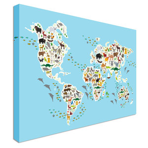 Map Prints Canvas Town - Green and blue world map