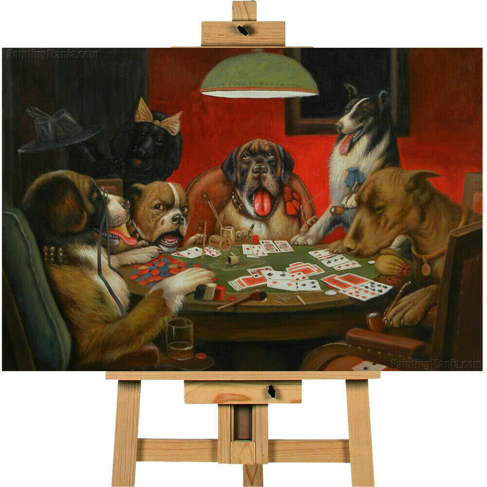 Dogs Playing Playing Poker Wall Art Canvas Print Canvas Town