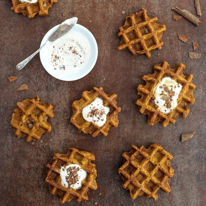Vegan Pumpkin Waffles with Cashew Cream by Karolina Weircigroch