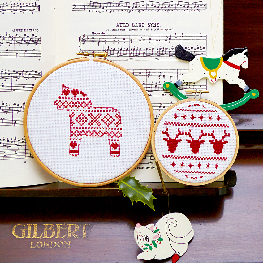 Festive Cross Stitch Hoops by  Jen Wright