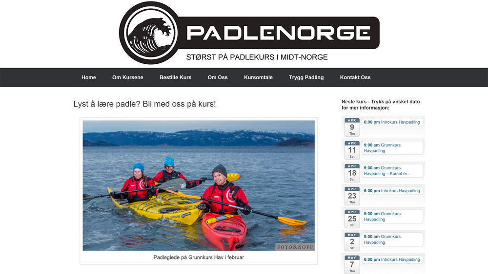 Website photos for PadleNorge.