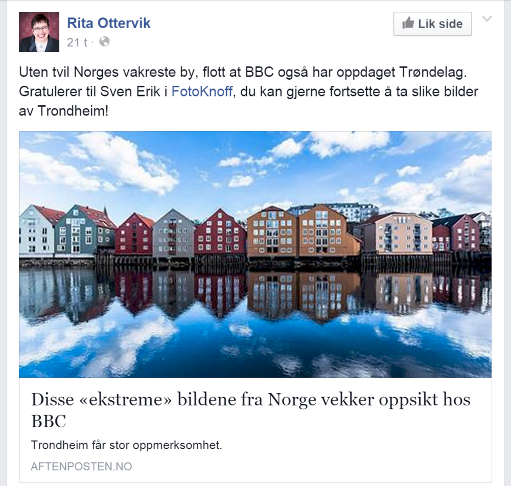 Mayor of Trondheim, Facebook