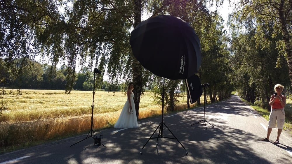 On location with Profoto lighting systems.
