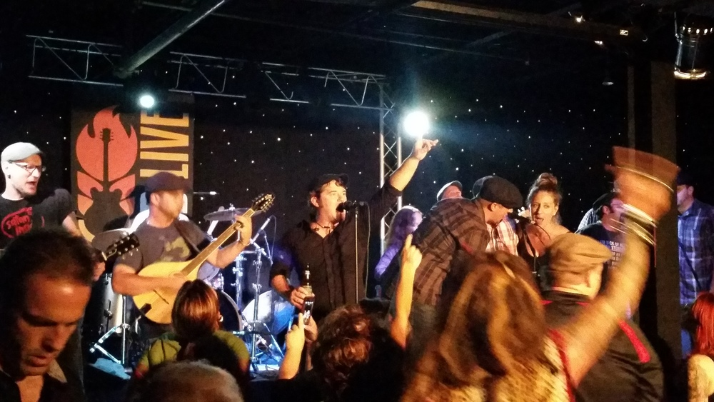 """Joining the Kilmaine Saints onstage at FedLive for """"Leaving of Liverpool."""""""