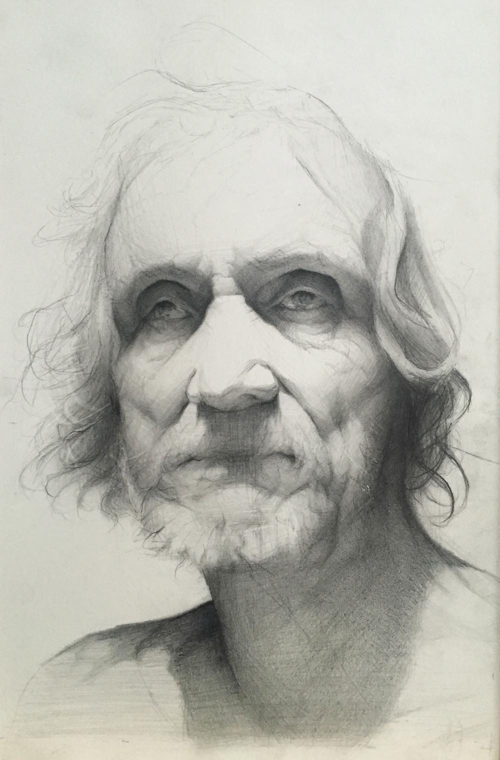 "graphite on paper, 7"" x 10"""
