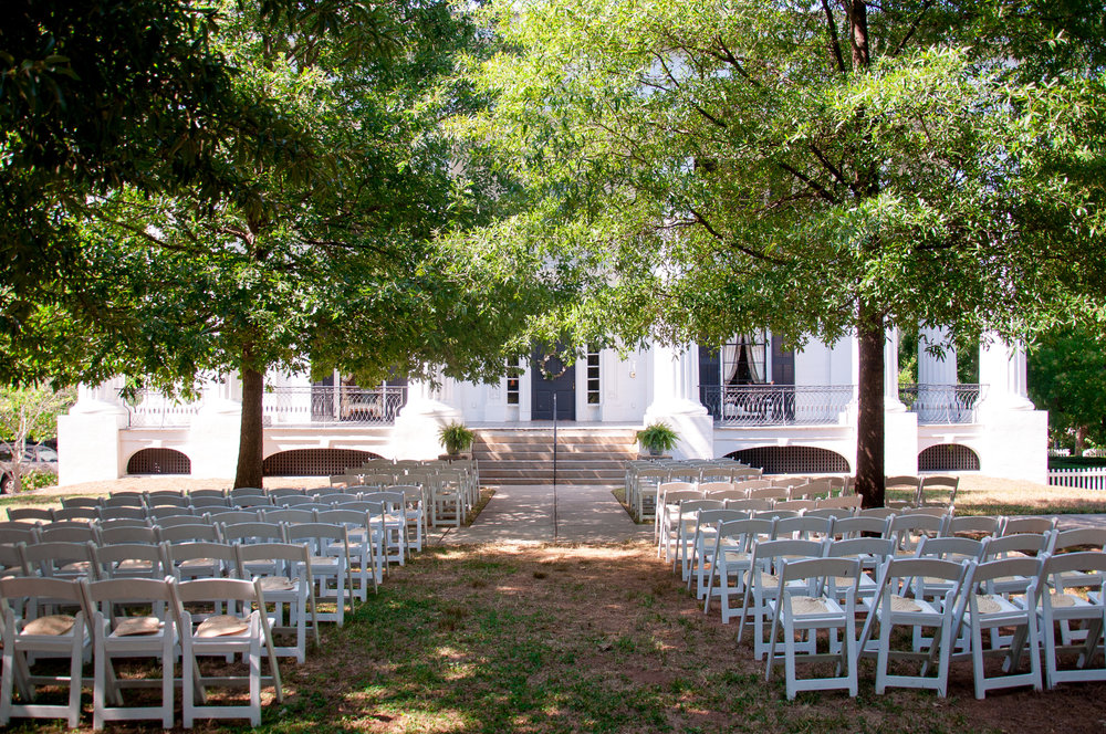 While many brides choose the sunny side garden for their ceremony site, Adele and Ross wanted to be able to take full advantage of the historic Taylor Grady House. We set up their altar space right on the front steps, which offered shade and a storybook view of this favorite venue of ours.