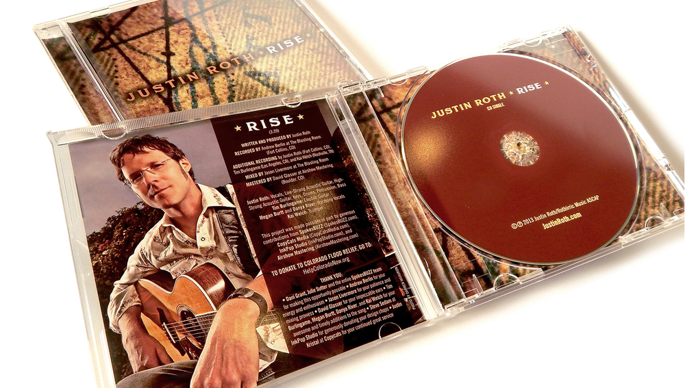 CD jacket for Justin Roth's fundraiser benefiting communities impacted by severe flooding in Colorado