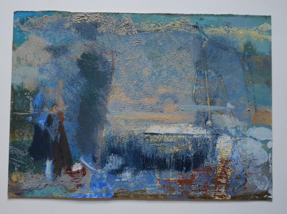 Monotype thats reminiscent of hudson river school. Mixed media on paper