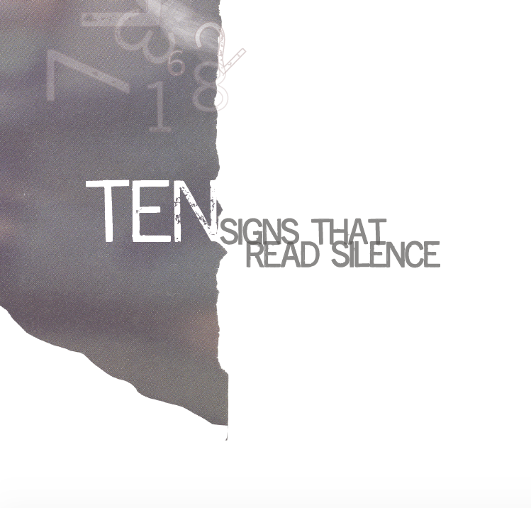 ten signs that read silence