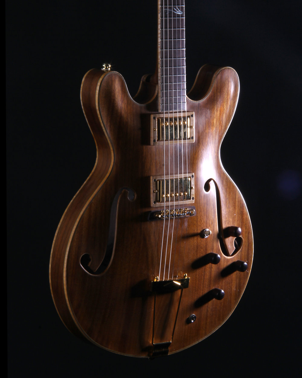 Walnut carved back/top thin line hollow body. One piece back and top. Fralin Pure PAF pickups, Gotoh Delta tuners. Maple bound f-holes and pickup rings.