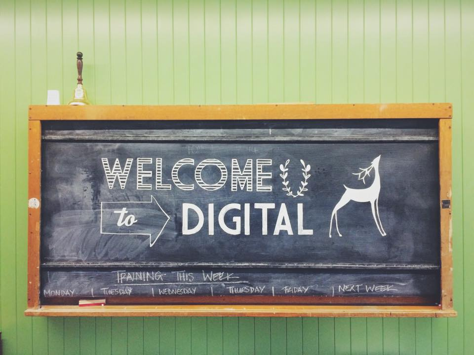 Welcome sign for LUSH Digital office