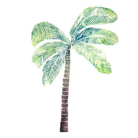 Palm tree lino print