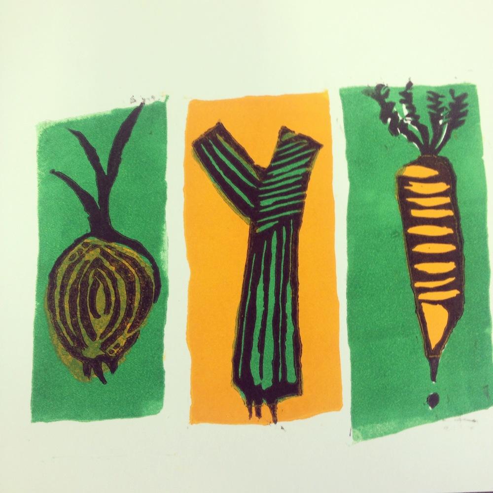 Vegetable lino print