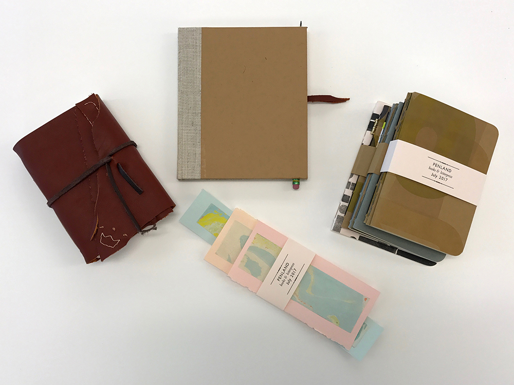 Pamphlet, case, and long stitch books; covers letterpress-printed from wood type. Belly band printed by instructor from metal type.