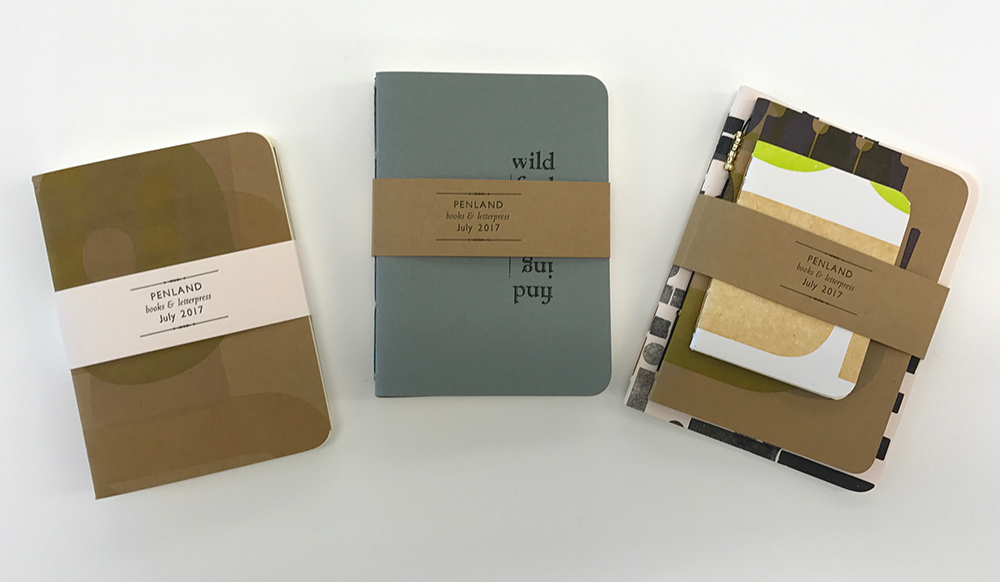 Pamphlet-bound notebooks with covers letterpress-printed from wood type. Belly band printed by instructor from metal type.