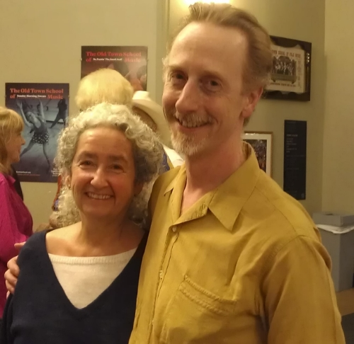 Woody Guthrie's daughter, Nora and me at the Woody Guthrie Centennial Celebration I produced at the Old Town School in 2012.