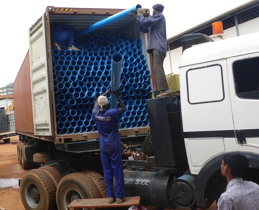Loading supply truck in Kampala, Uganda. Team will then drive equipment to South Sudan.