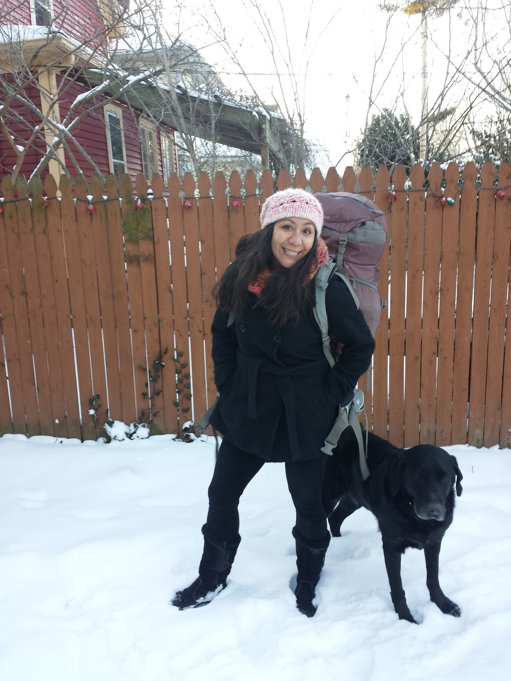 WFSS board member Angelique Stevens in snowy Rochester, NY, ready to leave for South Sudan.