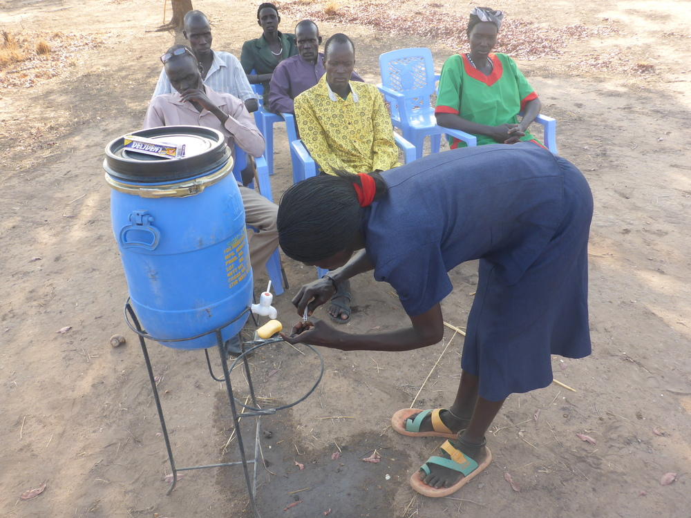 Wfss hygiene team helps villagers improve hygiene practices.