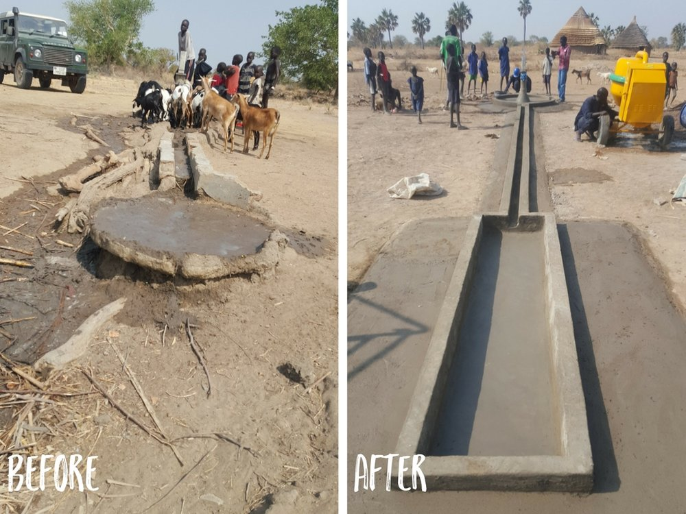 Because the animal trough cracked and broke, the goats learned to feed right under the spigot. this is bad for the people and the animals, and the construction of the new, longer trough will effectively keep the animals far away from the pump.
