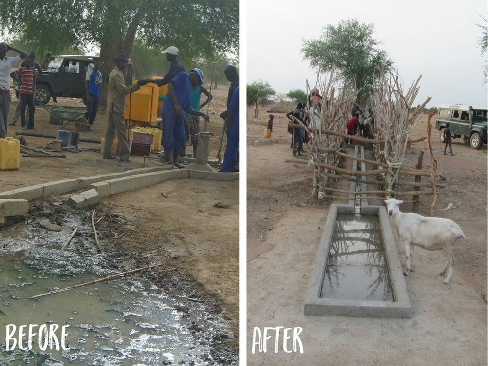 this photo shows the improved design with the finished fence. fencing is put on all wells, new or rehabbed, after the construction of the well and platform is complete.
