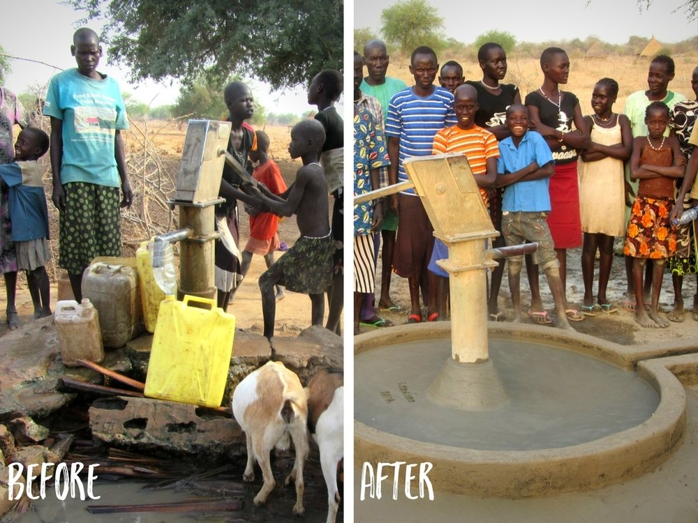 A before and after view of a rehabilitated well from 2017.