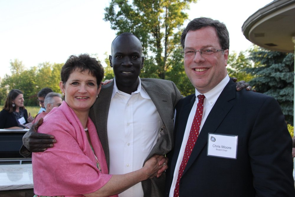 Louise Moore, Salva Dut, and WFSS board member Chris Moore.