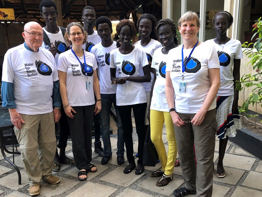 Glenn, Lynn, and Anne with university students in Juba, South Sudan.