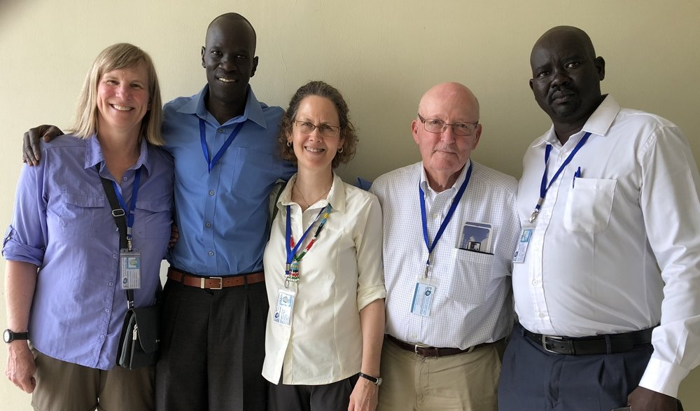 Board member anne turner, salva dut, executive director lynn malooly, board president glenn m. balch, jr., country director aj agok in juba.