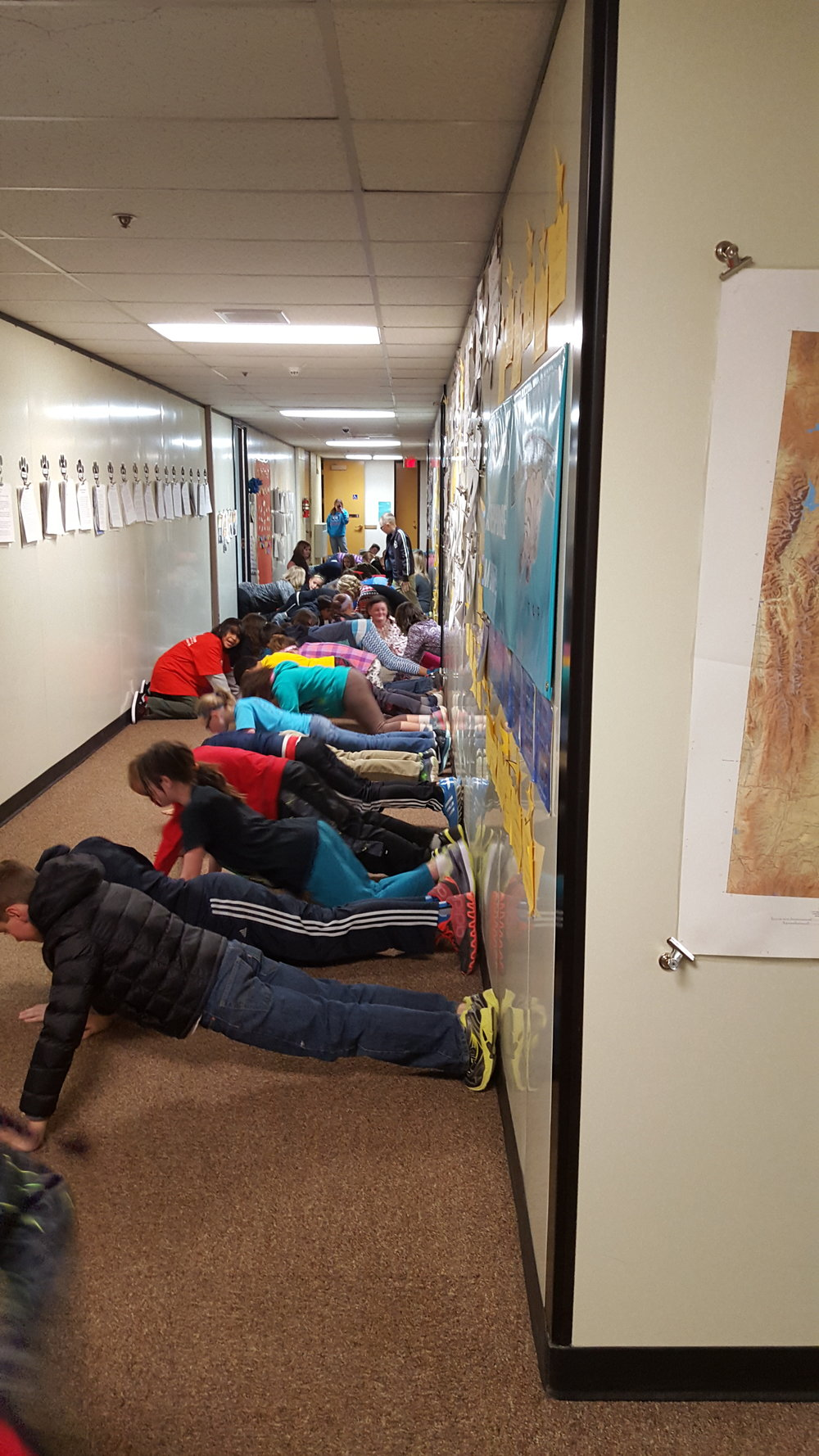 Baldwin Creek Elementary School pushups for clean water March 22 2016 w Landers Elementary.jpg