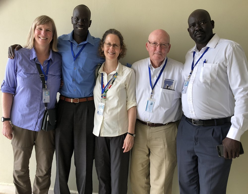 WFSS team concludes a successful trip to South Sudan! From left to right: Anne, Salva, Lynn, Glenn and AJ.