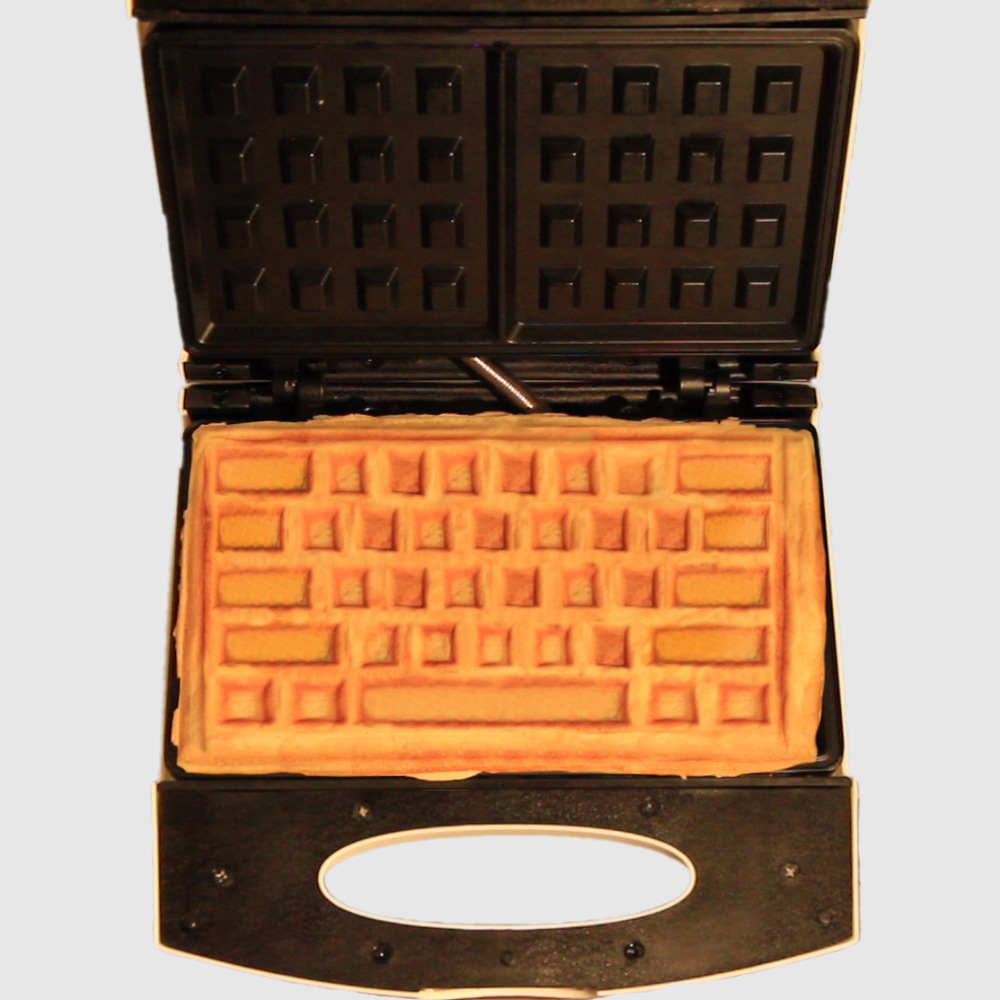 My photoshopped rendering of what a keyboard waffle would look like using an existing electric waffle maker.