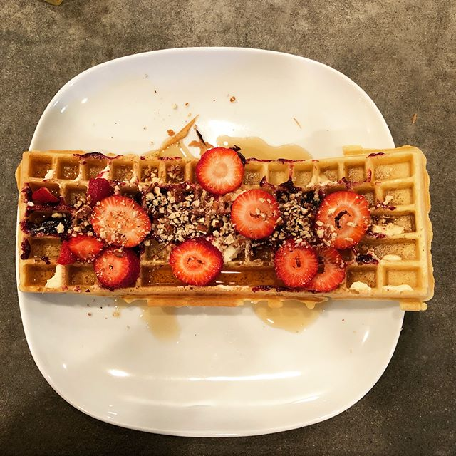 Sundays: The day we eat our keyboards instead of typing on them. #sundaymorning #sundaywaffles #keyboardwaffles #toppingsbar #breakfast #waffletoppings #waffleiron #waffles #strawberry #pecan #jelly #ctrlaltdelicious