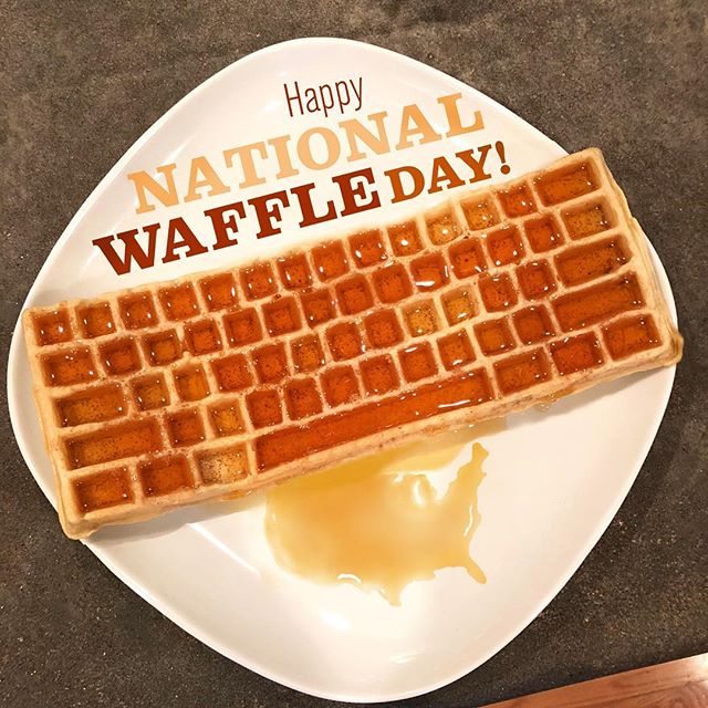 Happy National Waffle Day! Use code WAFFLEDAY2018 on our site to save 10% on the KWI! Link in bio. #nationalwaffleday #waffleday18 #natlwaffleday #waffles #keyboard #keyboardwaffles #keyboardwaffleiron #usa #america #ctrlaltdelicious