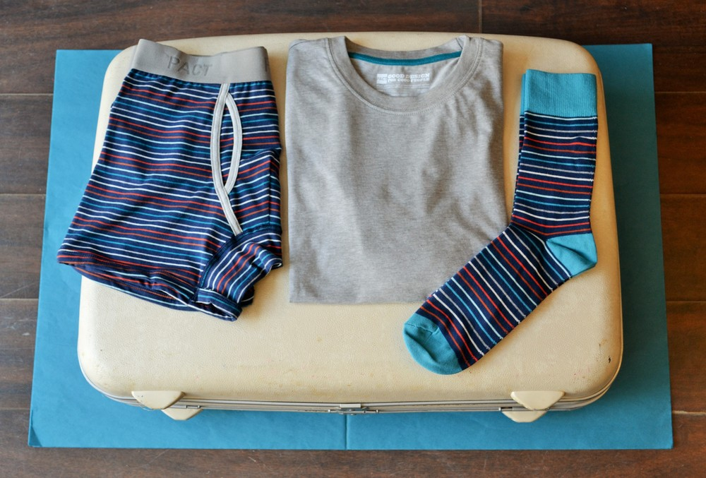 Men's Boxer Briefs, Beach Blanket $25 ,  Everyday Crew Neck Tee, Organic Grey $25 ,  Beach Blanket Crew Socks $13